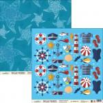 Бумага для скрапбукинга Морской МРС008 30,5х30,5 см 190гр/м², 1 лист