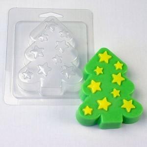 Пластиковая форма - Звездная елка, мыло37.рф